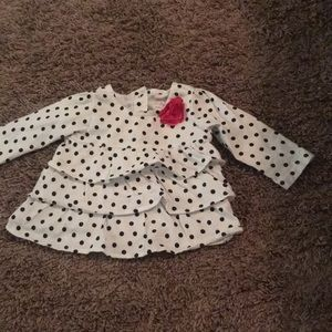 Other - Ruffle Front Black and White Polka Dot Longsleeve
